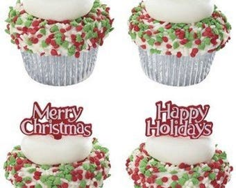 Merry Christmas & Happy Holidays Cupcake Picks - 24 count
