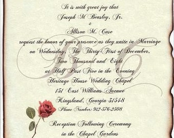Sale 28% off- qty 50 Monogram Wedding Invites Scroll Invitations Red Rose Theme