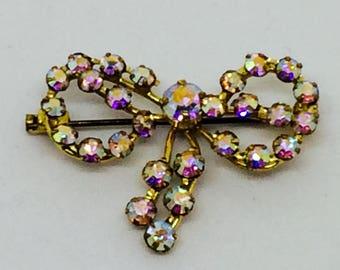 Crystal aurora borealis 1955 vintage bow brooch