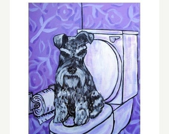 25% off Schnauzer in the Bathroom Dog Art Print