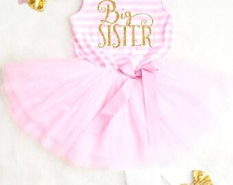 Big Sister Outfit Big Sister Dress Big Sister Announcement Toddler Big Sister Shirt Big Sis Little Sister Outfit Big Sister Gift 12