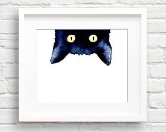 Black Cat - Art Print - Sneaky Black Cat - Wall Decor - Watercolor Painting