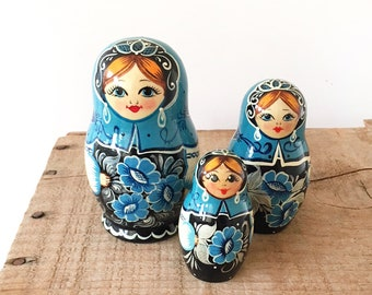 Set 3 Handpainted Russian Babushka Nesting Dolls - folk art floral Matryoshka - baby nursery child girl room decor style traditional #1283
