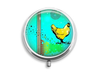 Disco Chicken Pill Box Stash Case Silver