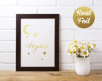 Custom Name Nursery Foil Print