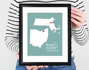 Two State Map Long Distance Love Custom Wedding Gift State Maps Best Friend Moving Gift Military Deployment Art Print