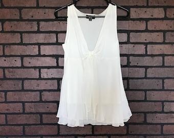 CLOSING SALE Vintage 90s white sheer flowy sleeve blouse shirt