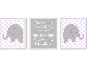 Elephant Nursery Art, Baby Girl Nursery, Lavender Gray Decor, First We Had Each Other, Polka Dot Nursery, Girl Room, Elephant Wall Art