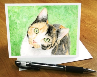 Calico Cat Card, Watercolor Cat Card, Calico Cat Birthday Card, Calico Cat with Sweet Face, Cute Cat Greeting Card, Calico Cat Greeting Card
