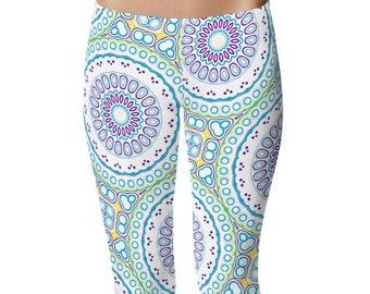Spring Leggings, Fun Leggings, Blue and Purple Mandala Pattern Footless Tights, Stretchy Pants, Yoga Clothing