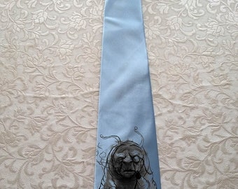 Alice In Wonderland  -Sky Blue, 4 inches widest point.Handmade.Wedding Tie.Caterpillar