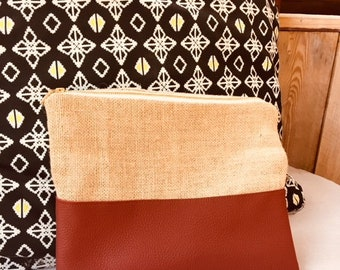 One of a kind: leather and burlap bag