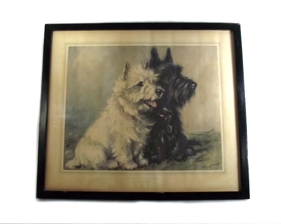 Vintage Print Scottish Terriers by Lucy Dawson
