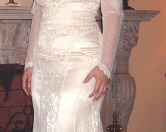 SALE New 1980's Victorian Style White Lace over Ivory Satin Wedding Gown/Dress Size 12 - item 802, Wedding Apparel