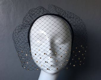 Handmade black birdcage veil with with swarovski crystals on black leather headband - can be ordered in different colours