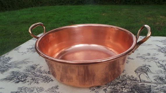 Copper Jam Pan Midi Sized French Copper Pot Vintage Copper French Jam Confiture Jelly Pan Cast Bronze Handles Useful Size Dents 30cm 11 3/4""