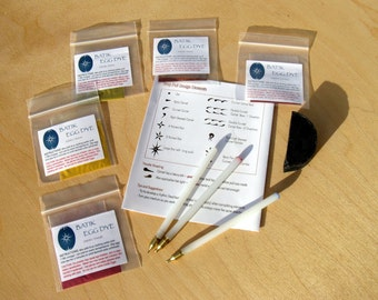 Drop Pull Kit for Easter Eggs and Encaustic Arts - 3 Pin Head Tools , 5 Dyes