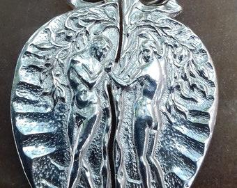Pendant silver Adam Eva  Art Nouveau sterling silver 925 necklaces pendant silver gift for him goft for her