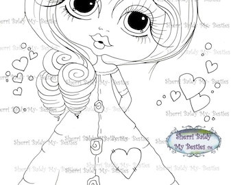 INSTANT DOWNLOAD Digi Stamps Big Eye Big Head Dolls Digi Bestie img470 By Sherri Baldy