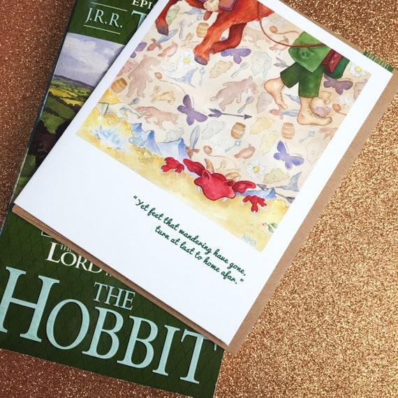 Bilbo Baggins Faerie Tale Feet Blank Greeting Card Tolkien Middle Earth  Book Card With Hobbit Quote Gandalf Halthegal