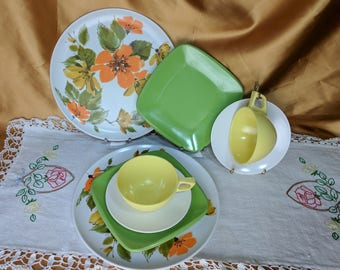 Glamping Picnic Mix & Match Mid Century Melmac Dining Set for 2 - 8 pieces Melamine, Sun Valley, Harmony House, Miramar *eb