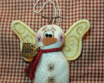Snow Many Blessings Ornament Pattern #276 - Primitive Doll Pattern - Christmas - Winter - Snowman - Angel