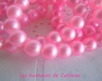 100 pink 10mm round glass beads