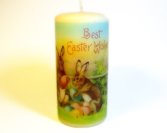 Victorian Easter Pillar Candle, Easter Decorations, Pastel Easter Decor, Easter Mantle, Easter Candles, Easter Bunny Decor, Pastel Candle
