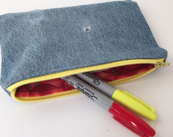 Upcycled Denim Pouch - Denim Pouch - Zippered Pouch - Distressed Denim - Eco-Friendly - Makeup Bag - Cosmetic Bag - Pencil Pouch - Jean Bag