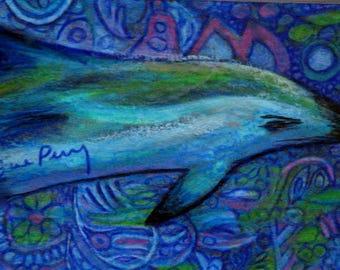 original art  aceo drawing dolphin zentangle design blue marine