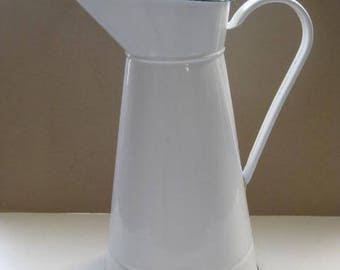 Vintage French large white enamel water pitcher.