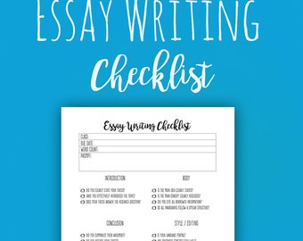 Essay Writing Checklist Printable for High School or College