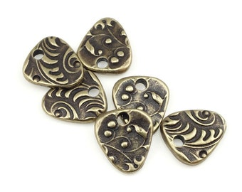 Bronze Charms TierraCast JARDIN TRIANGLE Antique Brass Charms for Spring and Summer Jewelry Woodland Bohemian Charms Fern Plant (P1390)