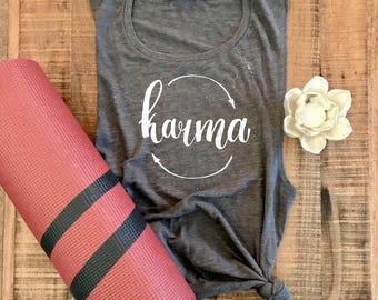 Karma Yoga Tank, Yoga Clothes, Karma Shirt, Hot Yoga, Brunch Tank, Yoga Tank, Yoga Tee, Yoga Tank Top, Grey