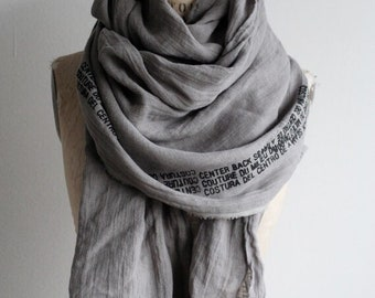 Spring, Gray Scarf, Edgy Fashion Accessories Scarves, Linen, Soft Scarves, Long, Unisex, Handmade