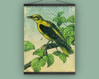 Bird watcher, garden, nature lover, natural history, yellow, wall hanging, polka dots, banner, antique, vintage, home decor