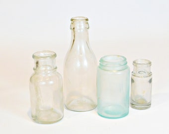 4 Vintage Glass Bottles, Apothecary Bottles, Medicine Bottles, Farmhouse Style, Bottle Vases, Craft Supply Bottles, B7