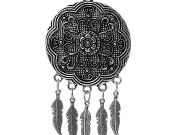 Large pendant dream catcher in metal silver 8.7 cm / ethnic Collection