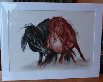 Fighting horses in Charcoal - black and brown red