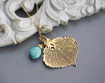 Gold Aspen leaf,Leaf necklace,Turquoise,bridesmaid gifts,Autumn fall wedding,Lariat,Personalized,wedding jewelry
