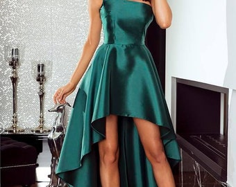 Satin Cocktail Dress (Red,Blue, Green)