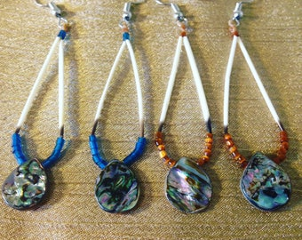 abalone and porcupine quill earrings