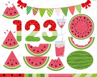 Watermelon clipart, watermelon number , summer fruit bunting and background