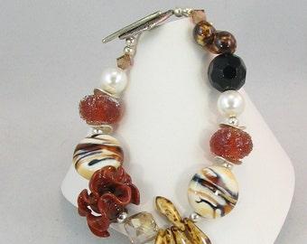 Bracelet de perles mélangées Safari funky Artisan au chalumeau et perle (BR 205)