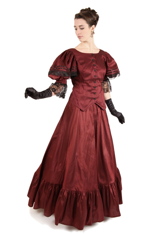 1890s-1900s Fashion, Clothing, Costumes Lara Victorian Dupioni Lace Trimmed Gown $173.00 AT vintagedancer.com