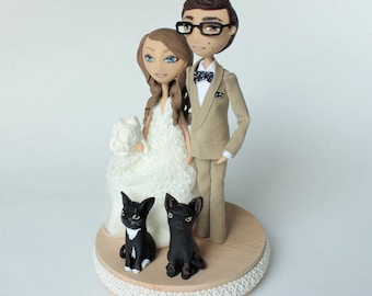 Rustic Wedding Cake Topper Figurine Customized Dolls Custom Cat Weddings Wood Gateau Mariage Clay Charms Personalized Unique Decor
