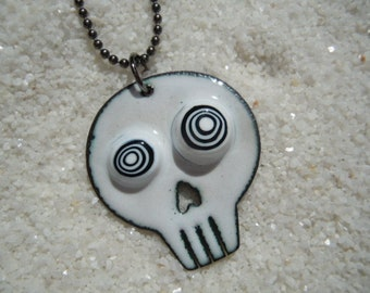 Skull with Crazy Eyes Necklace