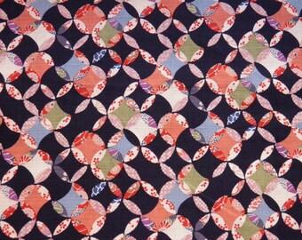 Fabric geometric circles pattern Japanese Blue Navy - 50 cm