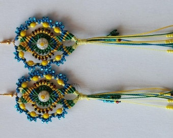 "TUTORIAL (EN) PDF micro macrame earrings ""Navruz"""