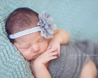 Fiona - Vintage Inspired - Gray Lace Tulle Headband - CHOOSE Gray or Beige - Newborn Infant Baby Girl Toddler Adult